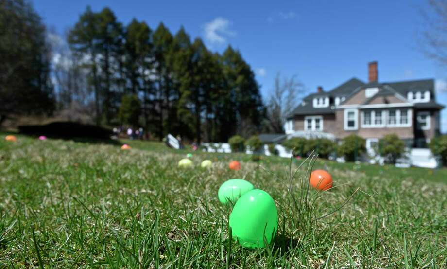 These guys need a lesson in the high art of Easter egg hiding.  Photo: H John Voorhees III, Hearst Connecticut Media / The News-Times