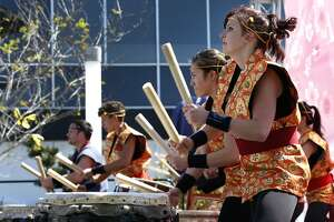 The San Francisco Taiko Dojo drummers perform for a crowd at the 50th annual Cherry Blossom Festival in San Francisco, Calif. on Saturday, April 8, 2017.