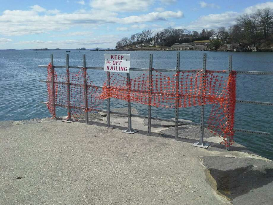 The pier at Steamboat Road is falling apart. Although the BET approved spending $600,000 to repair it, critics said upgrading it would attract more fishermen and create a hazard for the boats nearby. Photo: Ken Borsuk /