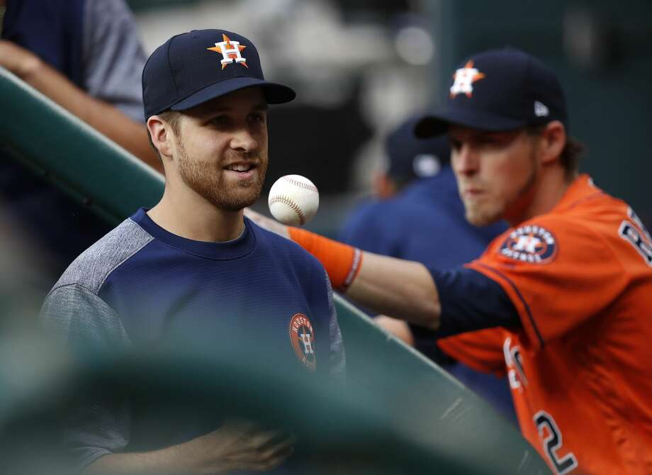 Houston Astros pitcher Collin McHugh in the dugout before the start of the first inning of an MLB baseball game at Minute Maid Park, Friday, April 7, 2017, in Houston.   ( Karen Warren / Houston Chronicle ) Photo: Karen Warren/Houston Chronicle