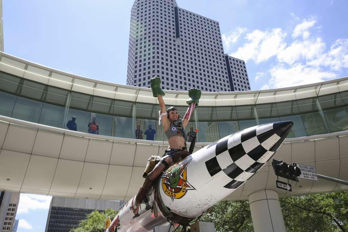 A rocket and female hero-themed art car participating the 30th Annual Houston Art Car Parade Saturday, April 8, 2017, in Houston. More than 250 art cars ahve participated the parade. ( Yi-Chin Lee / Houston Chronicle )