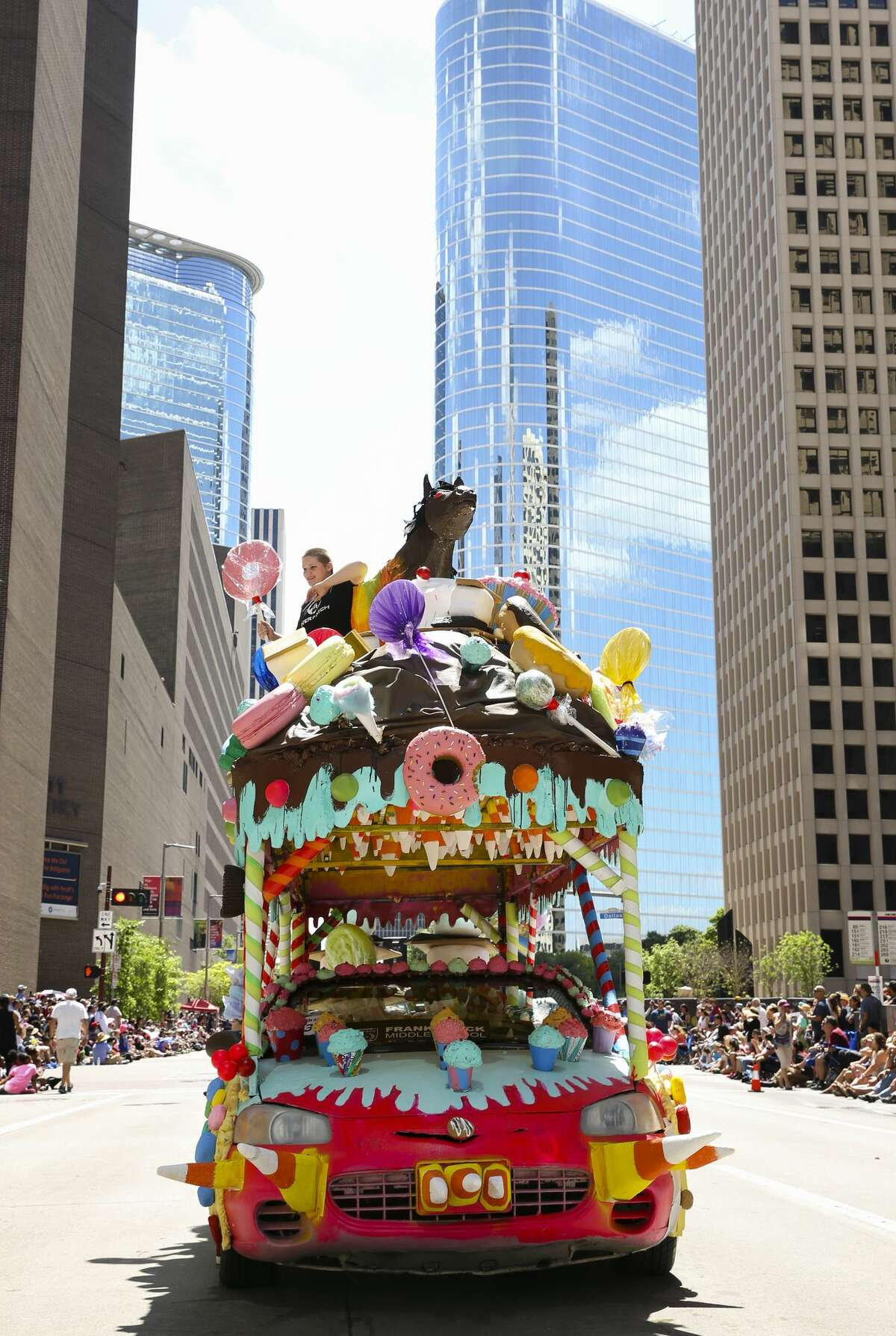 A candy-themed art car participating the 30th Annual Houston Art Car Parade Saturday, April 8, 2017, in Houston. More than 250 art cars ahve participated the parade. ( Yi-Chin Lee / Houston Chronicle )