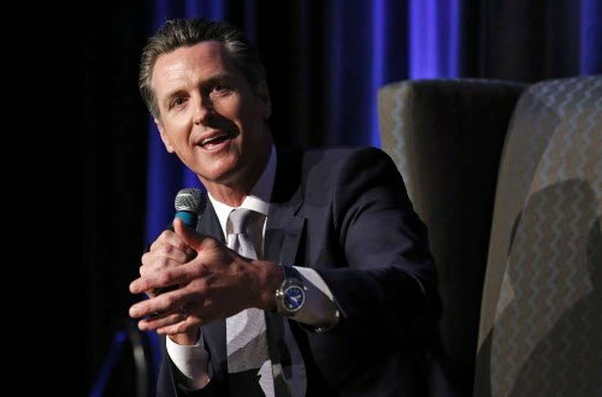Lt. Gov. Gavin Newsom, a candidate for California governor, speaks at a gubernatorial candidates forum, Tuesday, April 4, 2017, in Sacramento, Calif. (AP Photo/Rich Pedroncelli)