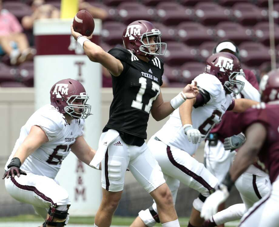Nick Starkel (17) will take over as Texas A&M's starting quarterback in Saturday's game against New Mexico State. Photo: Brett Coomer/Houston Chronicle
