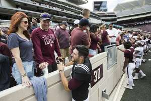 Texas A&M football plays greet fans following the Texas A&M spring football game at Kyle Field on Saturday, April 8, 2017, in College Station. ( Brett Coomer / Houston Chronicle )