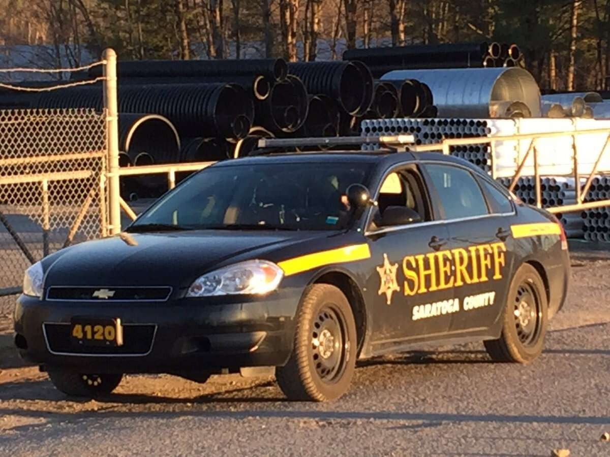 Police are station near the location of a sewer where youth fell in Ballston Spa. (Kenneth C. Crowe II / Times Union)