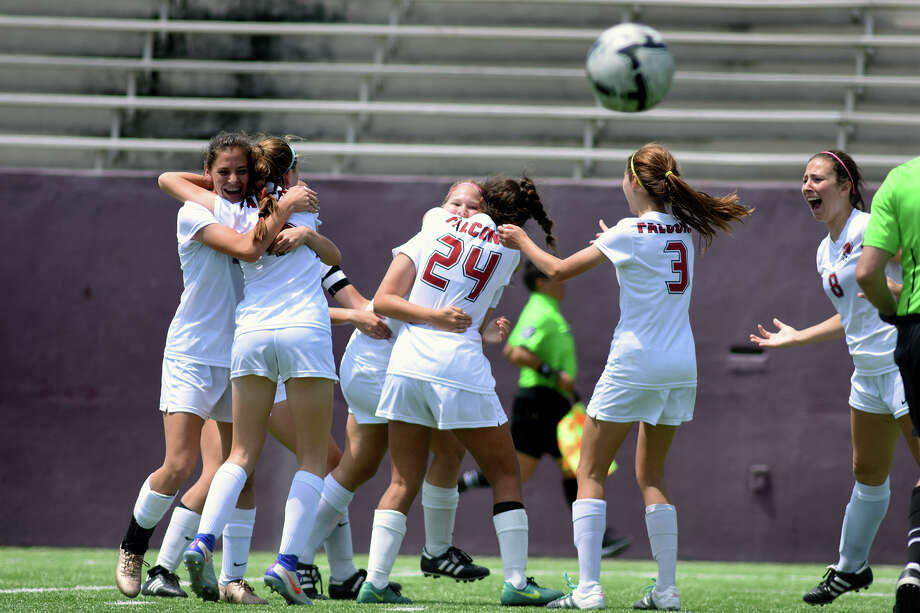The Tompkins Falcons, including freshman midfielder Terin Graham, from left, freshman midfielder Lauryn Wild, freshman defender Valeria Gomez (24), senior defender Elena Wolf (3), and junior midfielder Kayla Ruopp (8) celebrate their 2nd goal against Cinco Ranch in the 2nd half of their Girls Region III-6A Soccer Final at Abshier Stadium in Deer Park on Saturday, April 8, 2017. (Photo by Jerry Baker/Freelance) Photo: Jerry Baker/For The Chronicle