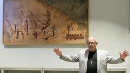 "Greg Williams, CEO of The Rock Art Foundation, talks about a reproduction of the White Shaman (pictured), that he described as ""one of the greatest narratives in the world,"" during a press conference at the Witte Museum's B. Naylor Morton Research and Collections Center on Sept. 28, 2016, to announce that the Witte Museum was taking over administration of the White Shaman Preserve in the Lower Pecos Canyonlands from the Rock Art Foundation. The Witte already had more than 20,000 artifacts from the preserve in its collections. The White Shaman is projected onto a rock wall in the Kittie West Nelson Ferguson People of the Pecos Gallery at the Witte."