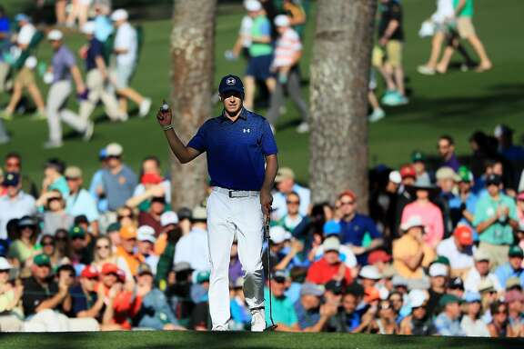 AUGUSTA, GA - APRIL 08:  Jordan Spieth of the United States reacts to his birdie on the 15th green during the third round of the 2017 Masters Tournament at Augusta National Golf Club on April 8, 2017 in Augusta, Georgia.  (Photo by Andrew Redington/Getty Images)