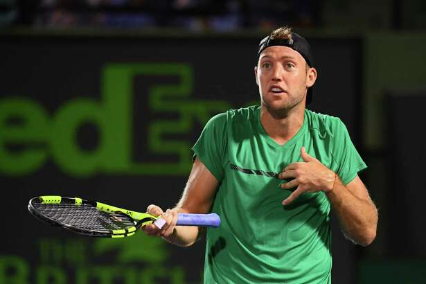 KEY BISCAYNE, FL - MARCH 29: Jack Sock gestures towards the official during a match against Rafael Nadal of Spain at Crandon Park Tennis Center on March 29, 2017 in Key Biscayne, Florida. (Photo by Rob Foldy/Getty Images) ORG XMIT: 686706575