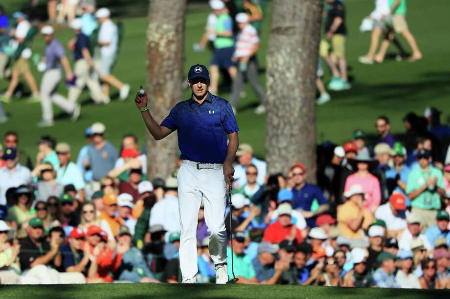 AUGUSTA, GA - APRIL 08:  Jordan Spieth of the United States reacts to his birdie on the 15th green during the third round of the 2017 Masters Tournament at Augusta National Golf Club on April 8, 2017 in Augusta, Georgia.  (Photo by Andrew Redington/Getty Images) Photo: Andrew Redington, Staff / Getty Images / 2017 Getty Images