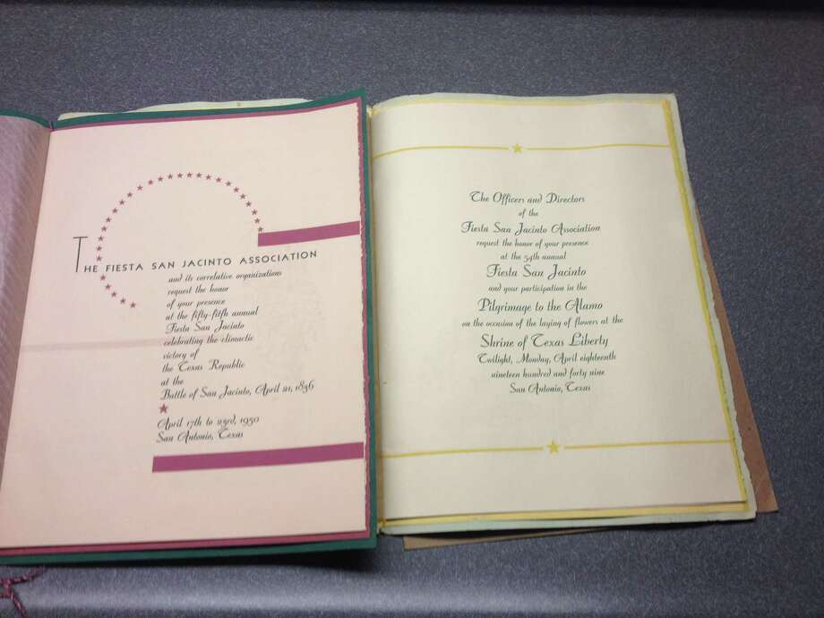 A formal invitation to Fiesta 1950 and an invitation to the Pilgrimage to the Alamo 1949. Photo: Courtesy /Dan Williams