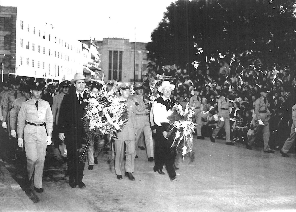Texas Governor Allan Shivers (in dark suit) attends the Fiesta Pilgrimage to the Alamo in 1950.