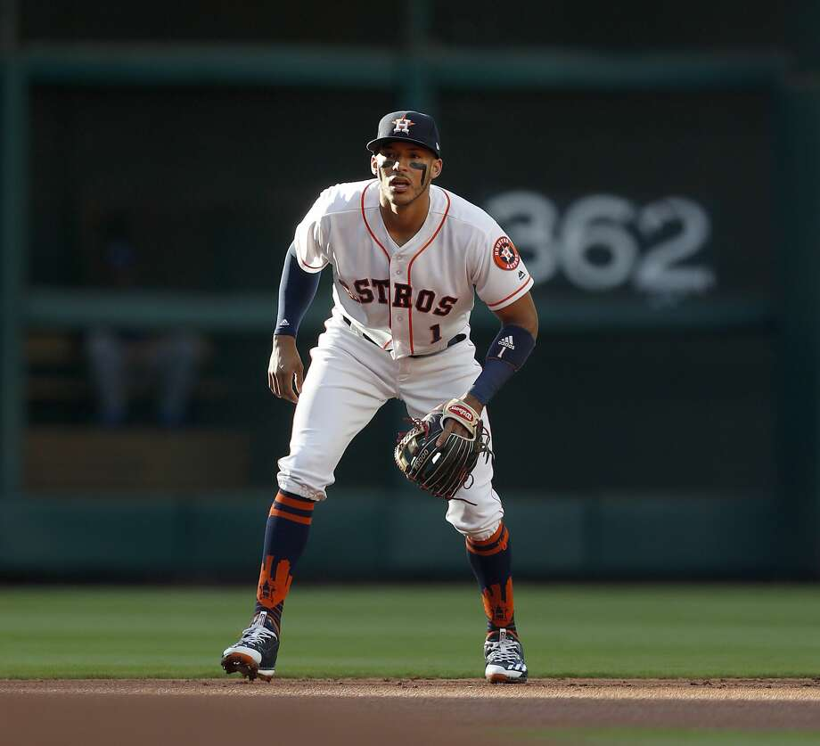 "Shortstop Carlos Correa said on Friday he wouldn't shut the door on a potential early multiyear contract extension with the Astros ""if the price is right."" Photo: Karen Warren/Houston Chronicle"