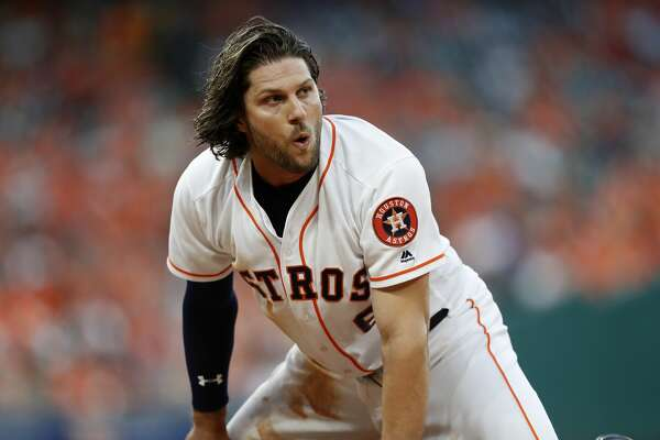 Houston Astros Jake Marisnick (6) reacts after making it back to first base during the fifth inning of an MLB baseball game at Minute Maid Park, Saturday, April 8, 2017, in Houston.   ( Karen Warren / Houston Chronicle )
