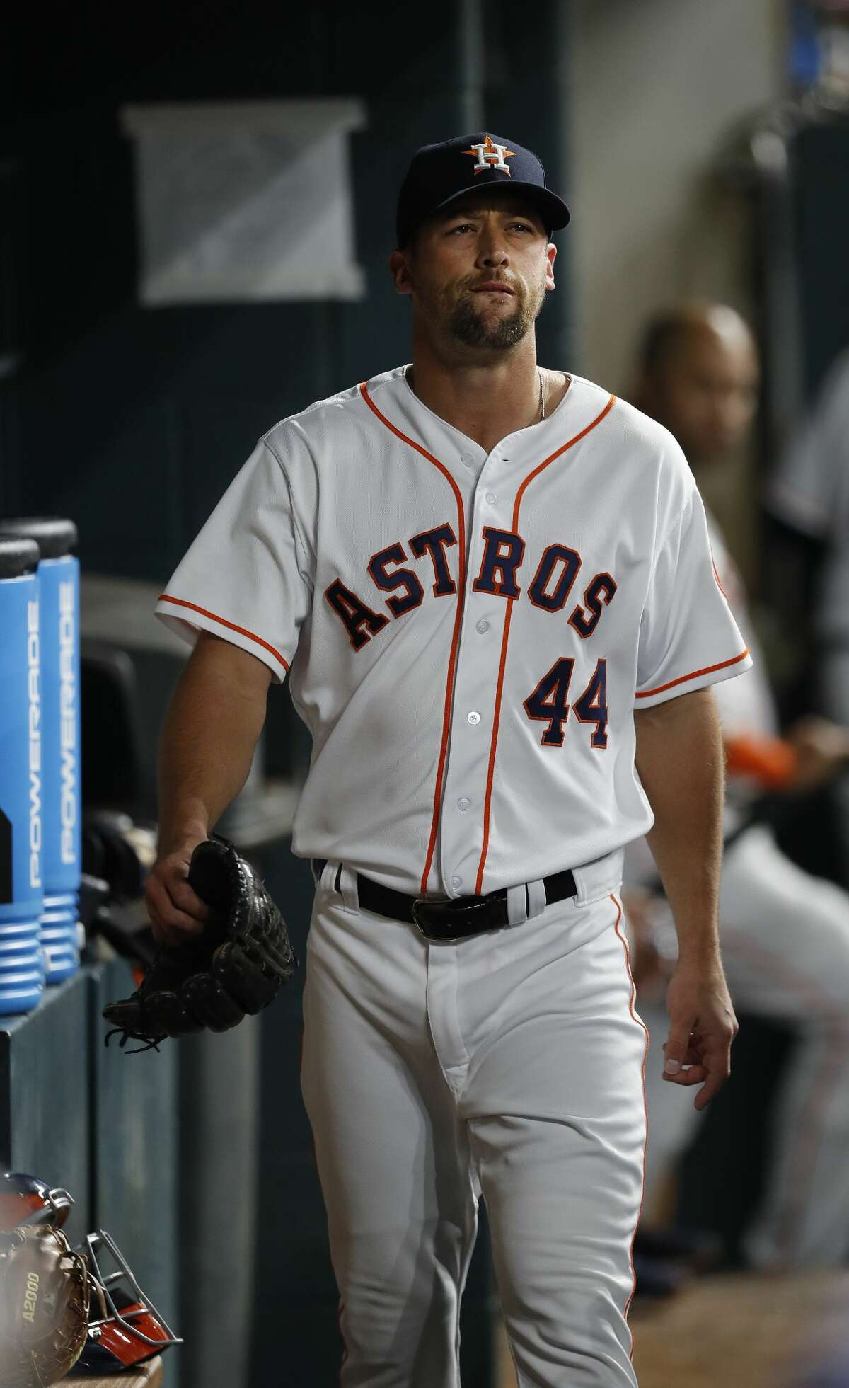 Houston Astros relief pitcher Luke Gregerson (44) reacts in the dugout after giving up six runs in the eighth inning of an MLB baseball game at Minute Maid Park, Saturday, April 8, 2017, in Houston. ( Karen Warren / Houston Chronicle )