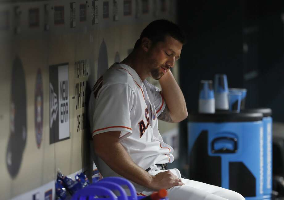 Houston Astros relief pitcher Luke Gregerson (44) reacts in the dugout after giving up six runs in the eighth inning of an MLB baseball game at Minute Maid Park, Saturday, April 8, 2017, in Houston.   ( Karen Warren / Houston Chronicle ) Photo: Karen Warren/Houston Chronicle