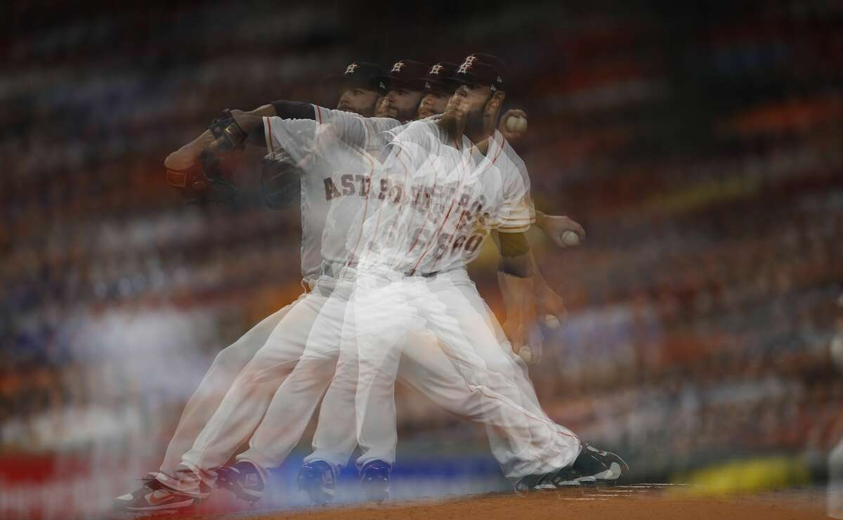 Multiple exposure of Houston Astros starting pitcher Dallas Keuchel (60) pitching during the sixth inning of an MLB baseball game at Minute Maid Park, Saturday, April 8, 2017, in Houston. ( Karen Warren / Houston Chronicle )