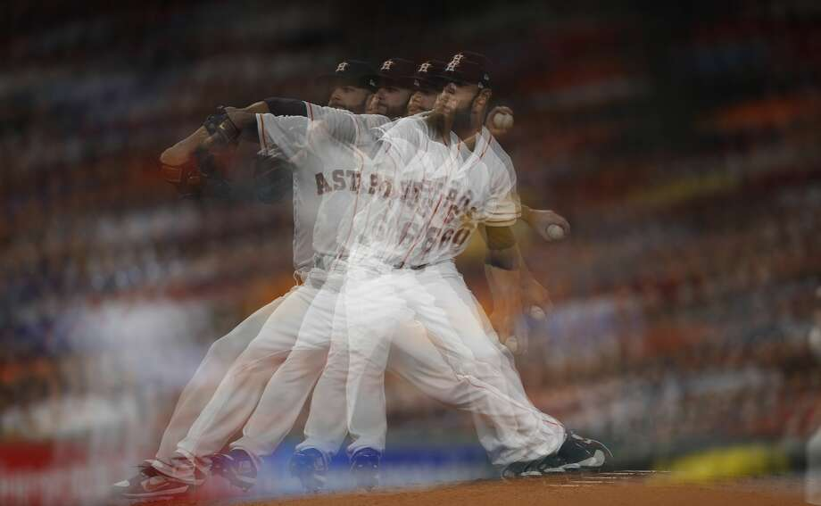 Multiple exposure of Houston Astros starting pitcher Dallas Keuchel (60) pitching during the sixth inning of an MLB baseball game at Minute Maid Park, Saturday, April 8, 2017, in Houston.   ( Karen Warren / Houston Chronicle ) Photo: Karen Warren/Houston Chronicle