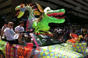 A double-headed dragon art car participated in the 30th Annual Houston Art Car Parade Saturday.