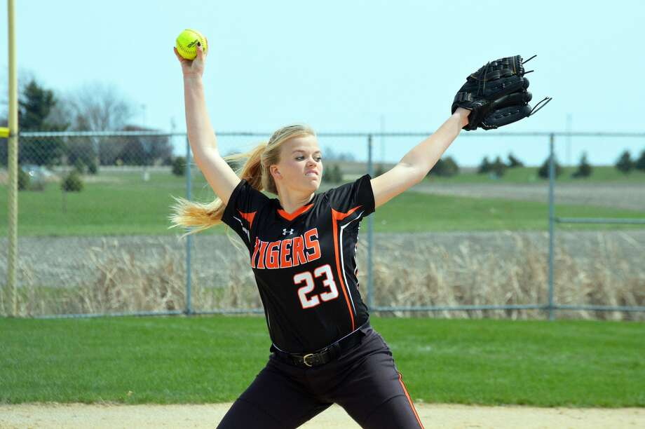 Edwardsville starting pitcher Jordan Garella delivers a pitch in the first inning to Normal Community in the first game of a doubleheader Saturday in Normal.
