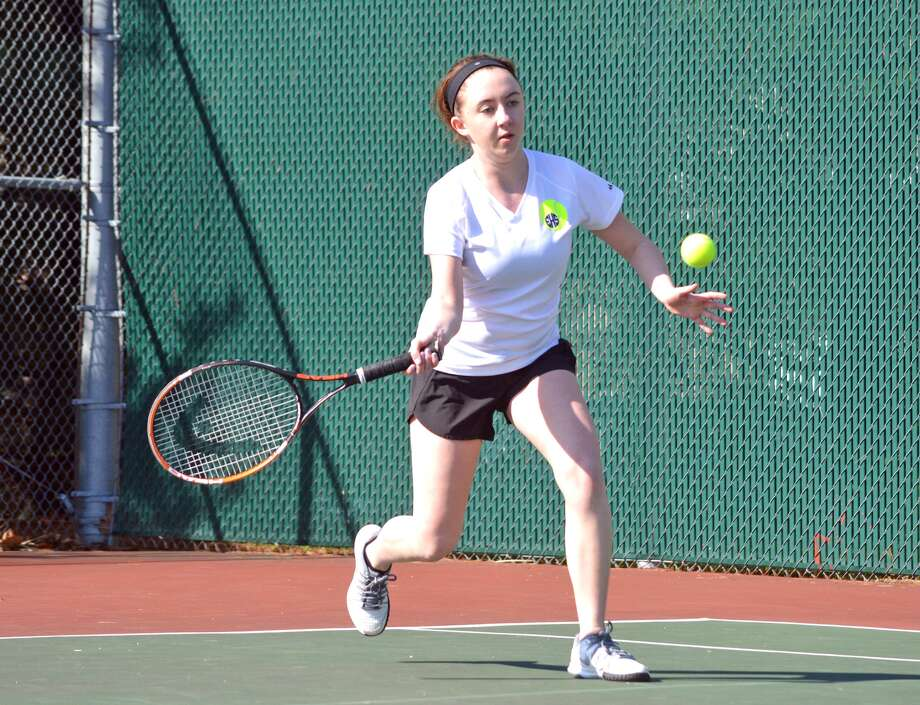 Edwardsville sophomore Myah Chenault returns a shot on Saturday during a girls' 16-and-under singles match at the Madison County Open.