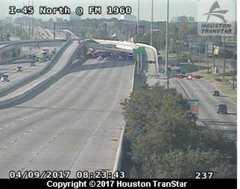 A wrong-way wreck shut down traffic on I-45 Sunday morning. Photo: Transtar