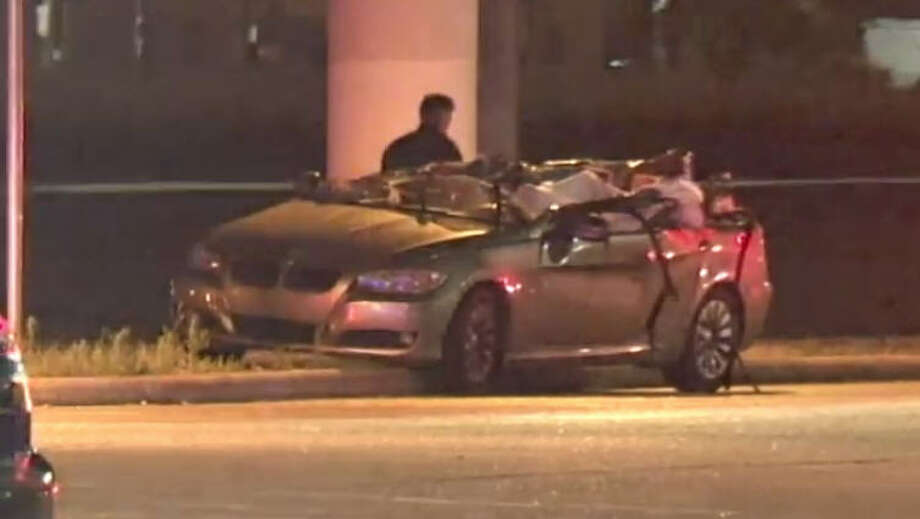 A man was killed after his BMW slammed into a Kroger truck. Photo: Metro Video