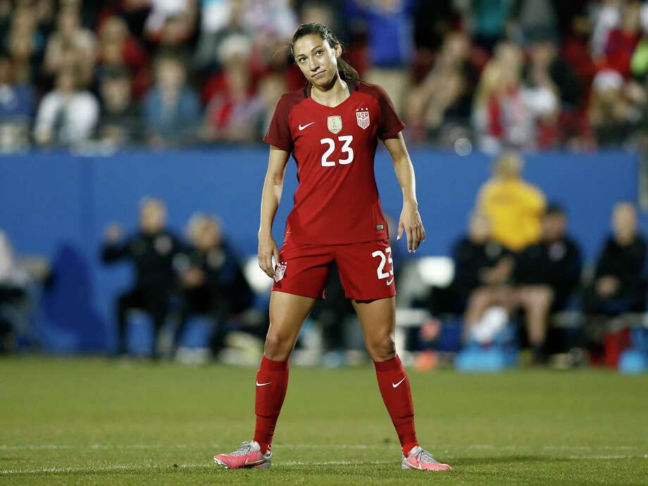 FRISCO, TX - APRIL 06: Christen Press #23 of the U.S. reacts after shooting the ball high against Russia during the second half of the International Friendly soccer match at Toyota Stadium on April 6, 2017 in Frisco, Texas. Photo: Mike Stone, Getty Images / 2017 Getty Images