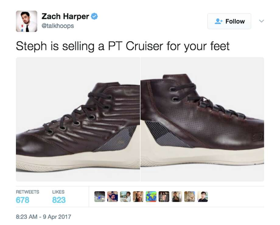 Stephen Curry's new Under Amour shoes got the full mockery treatment on Twitter. Photo: Screenshot Via Twitter