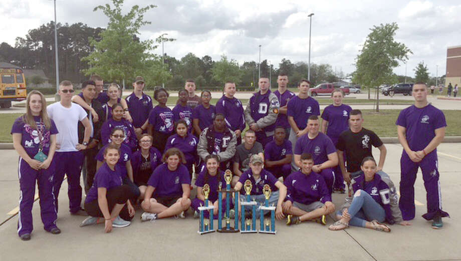 Dayton High School cadets celebrate their wins at the Tomball Drill Meet on April 1. Photo: Submitted