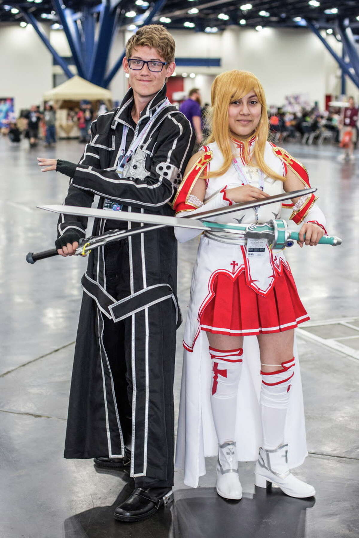 Jacob Wiles and Jazmine De La Fuente of Houston pose for a picture during Anime Matsuri held at George R. Brown Convention Center Friday April 7, 2017.