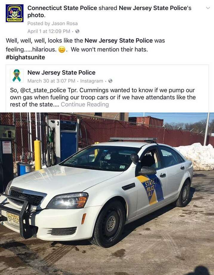 A feud between New Jersey and Connecticut state police, launched by this Facebook post more than a week ago, shows no signs of letting up. Image courtesy of the Connecticut State Police. Photo: Contributed / Contributed