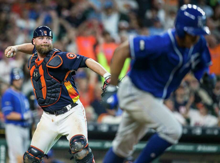 Astros catcher Brian McCann's ability to throw out baserunners figures to be tested in the ALCS more than it was in the division series against Boston. Photo: Brett Coomer, Houston Chronicle / © 2017 Houston Chronicle