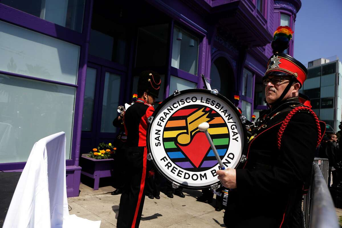 The San Francisco Lesbian and Gay Freedom Band performs at the reopening of the LGBT Center on Sunday, April 9, 2017, in San Francisco, Calif.