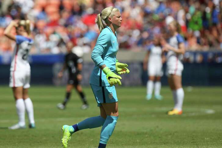 U.S.A. goalkeeper Jane Campbell (18), also Houston Dash player, substitutes Ashlyn Harris during the second half of the game BBVA Compass Stadium Sunday, April 9, 2017, in Houston.