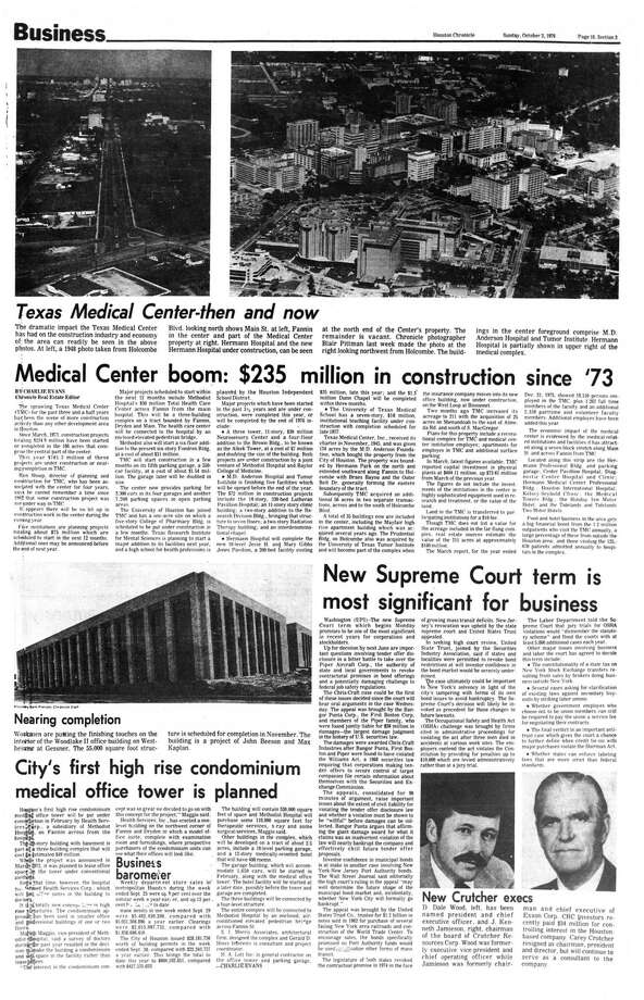Houston Chronicle inside page - October 3, 1976 - section 3, page 18. Medical Center boom: $235 million in construction since '73 Photo: HC Staff / Houston Chronicle