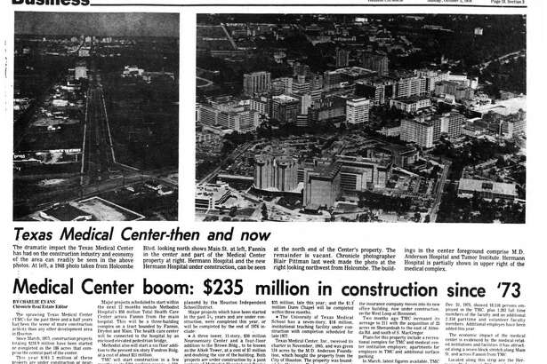 Houston Chronicle inside page - October 3, 1976 - section 3, page 18. Medical Center boom: $235 million in construction since '73