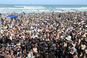 Spring Breakers party Sunday March 13, 2016 at Clayton's Beach Bar on South Padre Island, Tx.