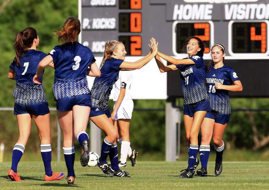 Boerne Championss' Ashley Walbrick (right) celebrates with her teammates after scoring against Corpus Christi Flour Bluff during the Region IV-5A semifinals on April 7, 2017, at Cabaniss Soccer Field in Corpus Christi. Photo: Gabe Hernandez /Corpus Christi Caller-Times / Gabe Hernandez/Caller-Times