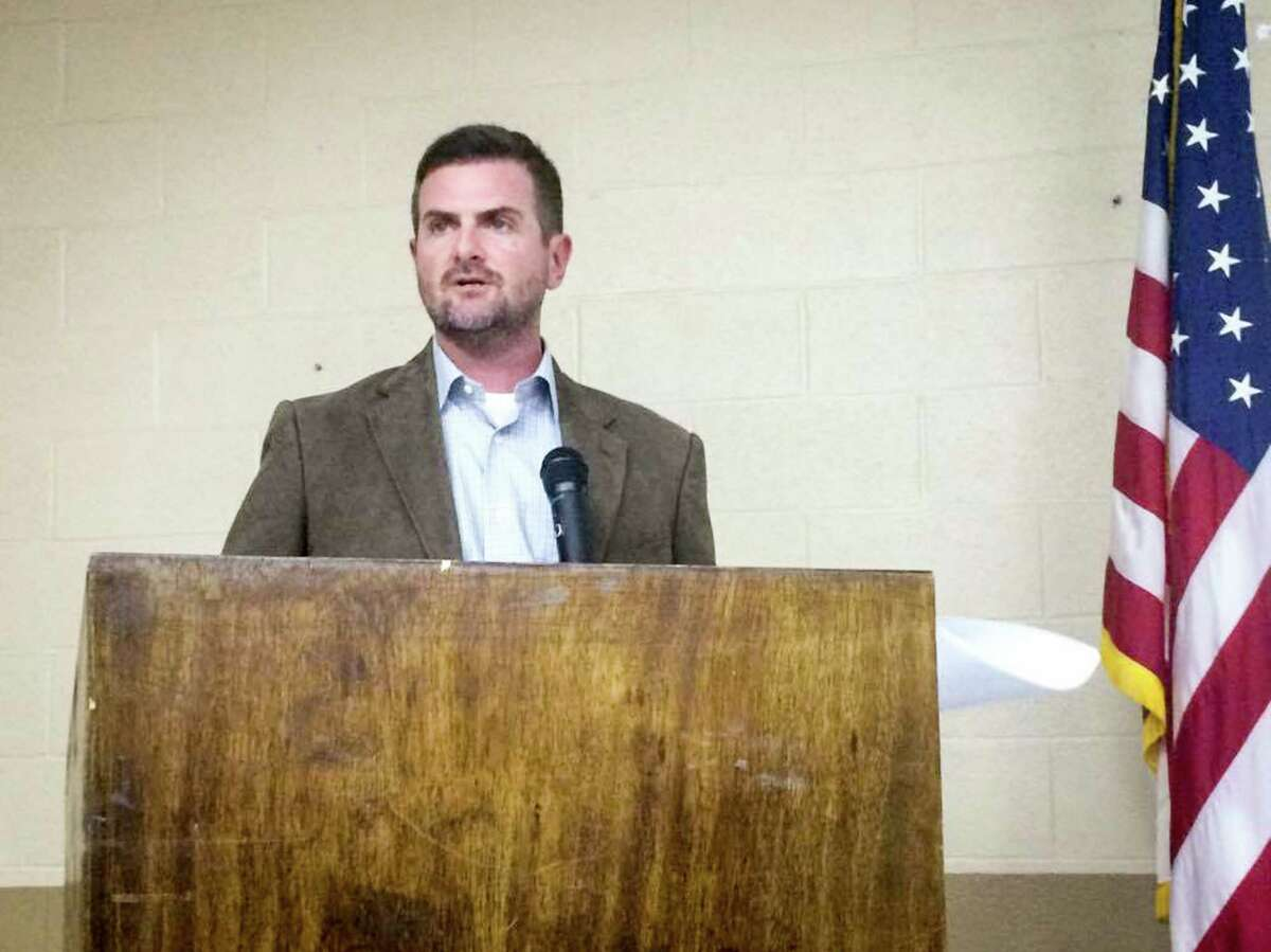 State Sen. Brandon Creighton, R-Conroe, speaks during the community meeting to discuss Senate Bill 1964 on Sunday, April 9, 2017, at the KC Event Center near Jones State Forest.