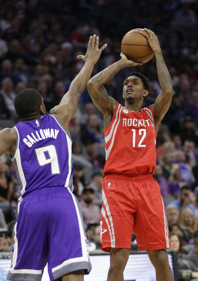 Houston Rockets guard Lou Williams, right, shoots over Sacramento Kings guard Langston Galloway during the first half of an NBA basketball game Sunday, April 9, 2017, in Sacramento, Calif. The Rockets won 135-128. (AP Photo/Rich Pedroncelli) Photo: Rich Pedroncelli/Associated Press