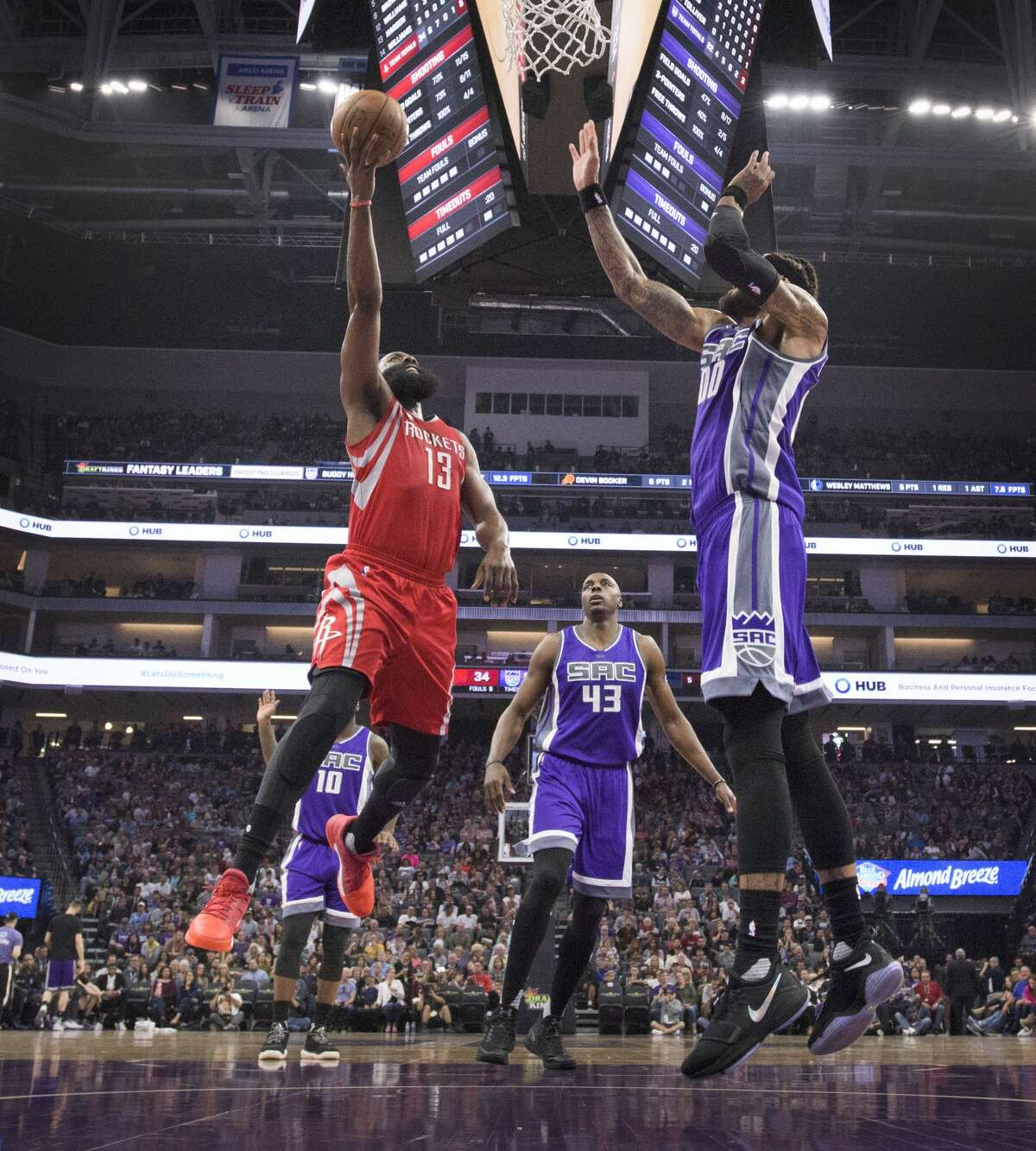 Houston Rockets guard James Harden (13) makes a basket against the Sacramento Kings center Willie Cauley-Stein (00) on Sunday, April 9, 2017 at Golden 1 Center in Sacramento, Calif. (Hector Amezcua/Sacramento Bee/TNS)