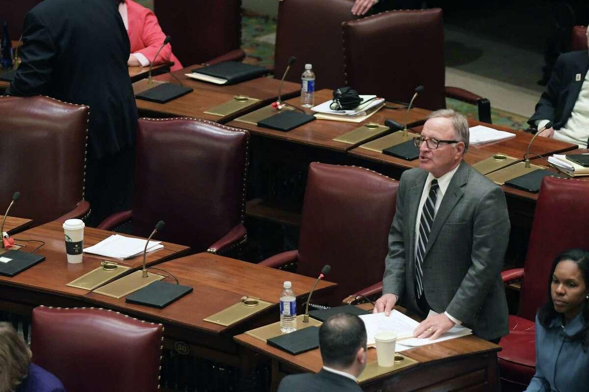 Senator John DeFrancisco, Deputy Majority Leader, addresses the members of the Senate at the Capitol on Sunday, April 9, 2017, in Albany, N.Y. (Paul Buckowski / Times Union)