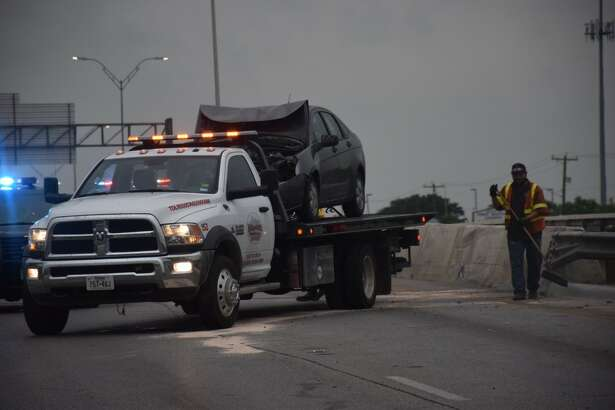 A wreck involving seven vehicles closed the northbound lanes of Loop 410 near Medina Base Roadaround 7:20 a.m. Monday, April 10, 2017. Two people suffered minor injuries.