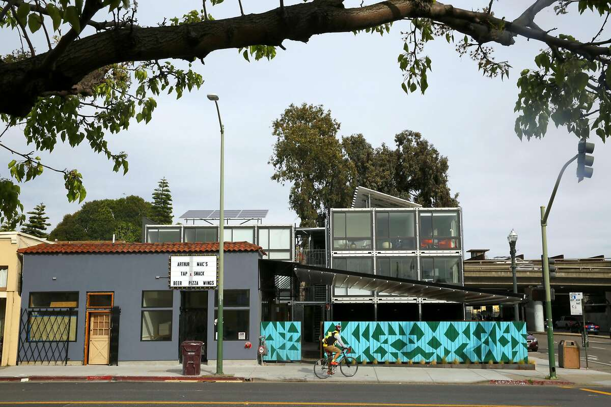 A street view of MacArthur Annex, a retail complex of 24 shipping containers on Wednesday April 5, 2017, in Oakland, Calif.