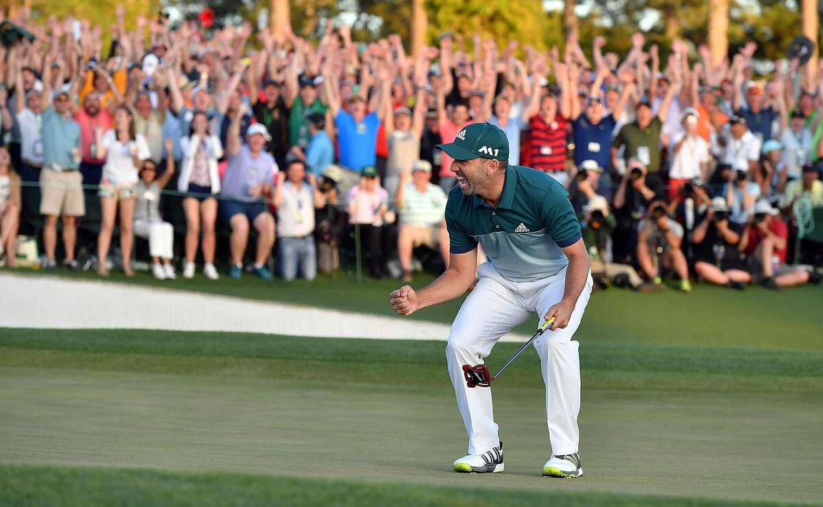 Sergio Garcia reacts as he wins the Masters on the first hole of a playoff in the 2017 tournament.
