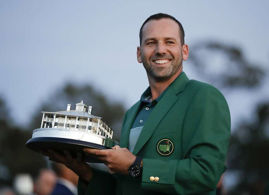 Sergio Garcia, of Spain, holds his trophy at the green jacket ceremony after the Masters golf tournament Sunday, April 9, 2017, in Augusta, Ga. (AP Photo/David Goldman) Photo: David Goldman, Associated Press