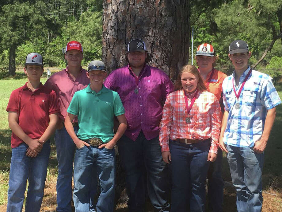 Coldspring FFA members won 2nd place in the Polk/San Jacinto County District Forestry Contest on March 31. The team will go on to compete at the state contest in Nacogdoches on April 20. Coldspring FFA Forestry Team members are(left to right) Clayton Currie, Corey Calvert, Gage Tyson, Dustin Harrison, Kaylee Neuman, Craig Wallace and Jack Patrick. Photo: Submitted