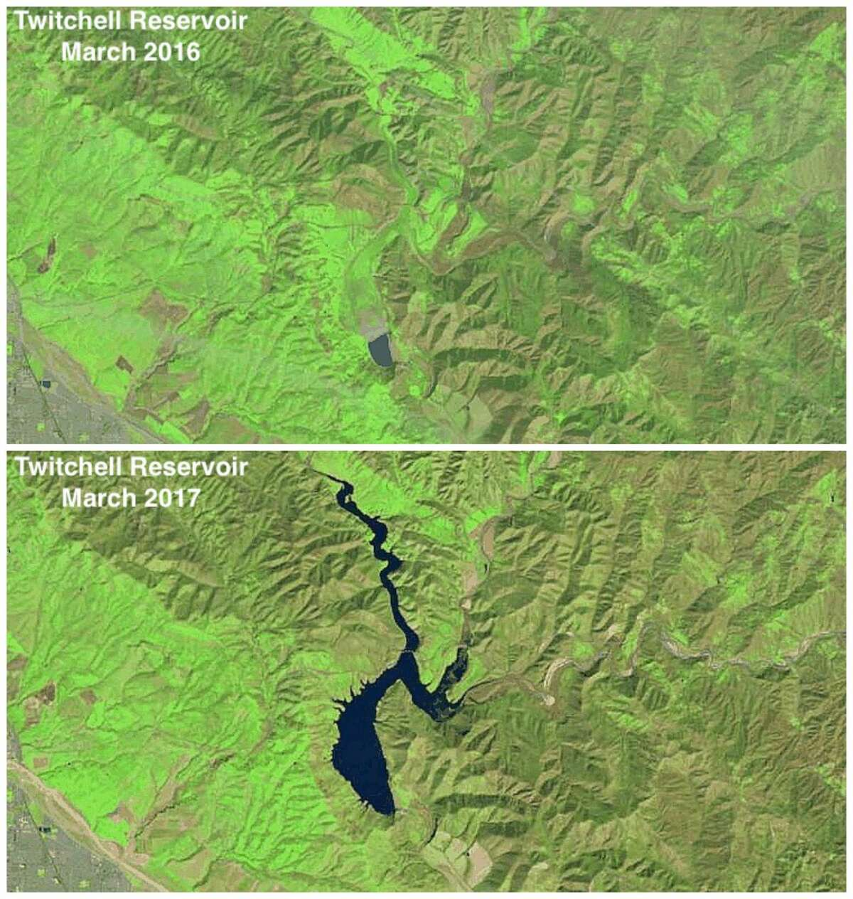Before and after: Twitchell Reservoir March 2016 vs. March 2017